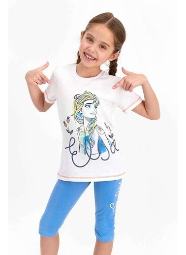 Frozen Karlar Ülkesi Frozen Lisanslı Açık Aqua Kız Çocuk Kapri Takım Beyaz